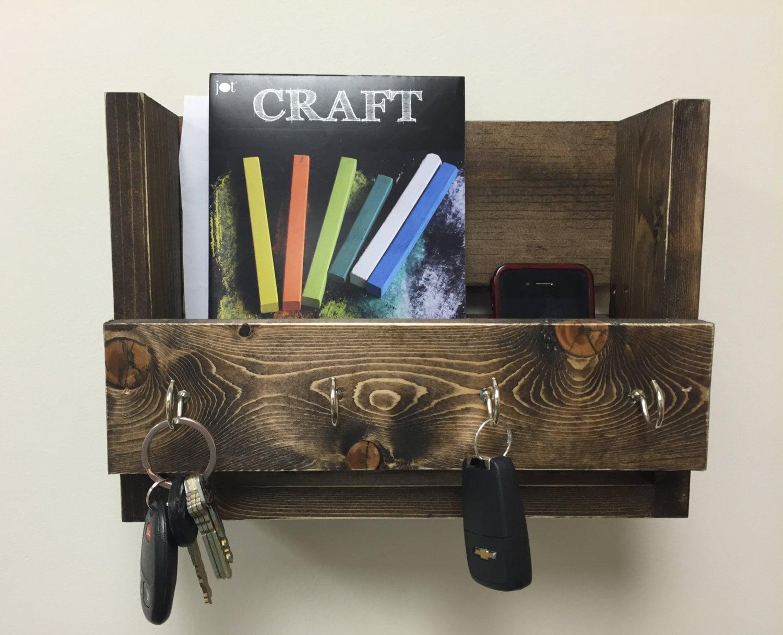 rustic key holder and mail organizer reclaimed wood key rack. Black Bedroom Furniture Sets. Home Design Ideas