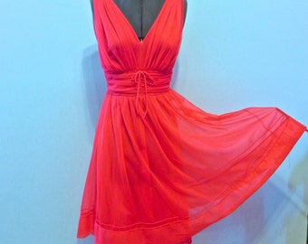 Vintage Negligee 50s Red Hot Chiffon Nighty Sm - on sale
