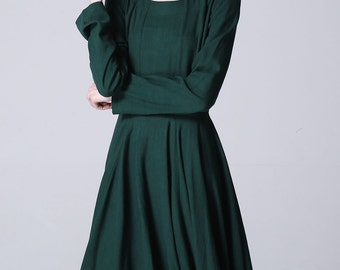 green dress, linen dress, long sleeve dress, boat neck dress, midi dress, knee length dress,linen clothing,fall clothing,casual dresses 1176