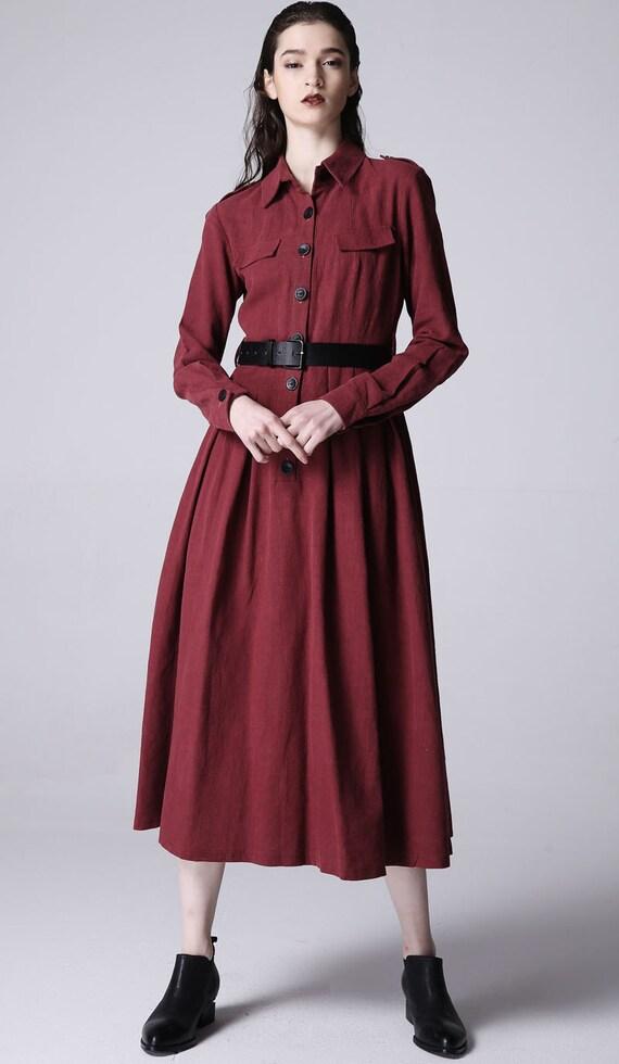 red linen dress maxi dress women dress 1170 by xiaolizi on