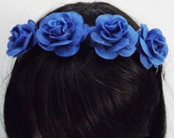 Blue roses headband  , gothic, romantic