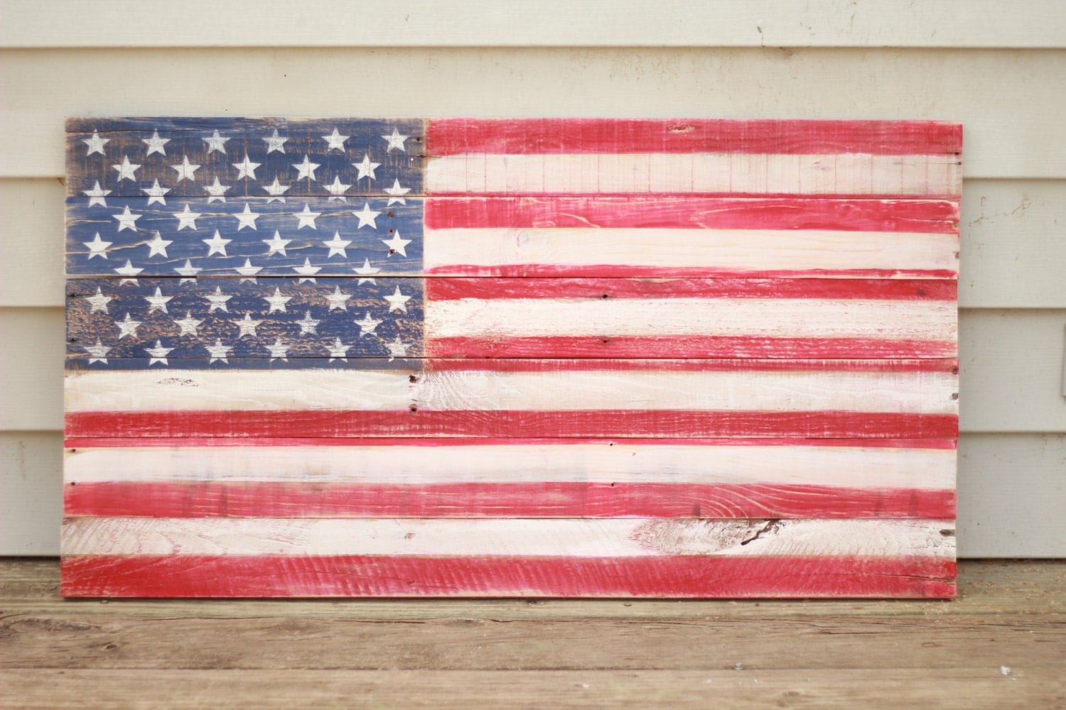 Wood Flag, Wooden Flag Sign, Fourth Of July Decor, Americana Sign - Reclaimed Wood Flag WB Designs