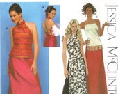 halter top back laced top long skirt Jessica McClintock Simplicity 9622 17/18 to 23/24 factory fold curvy girl plus sized