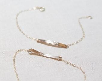 Double Sided Nameplate Bracelet | Gold Initial Bar Bracelet 14kt Gold Filled OR Sterling Silver  | Bridesmaid Gift | Wedding Gift