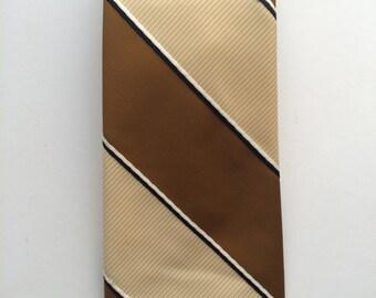 Vintage Neckties Men's 70's Polyester, Brown, Cream, Striped Fat Tie