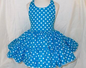 Turquoise Polka Dot Twirly Halter Dress Sundress with full ruffled skirt Infant Baby Toddler Girl Pool Blue Square Dance Twirly Sundress