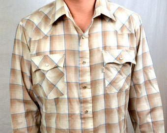 Vintage 80s Basic Levis Western Plaid Long Sleeve Pearl Snap Shirt
