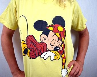 Vintage 80s Mickey Mouse Oversized Nightie Night Tee Shirt