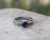 Amethyst Silver Skinnies MADE TO ORDER stacking rings, set of 3