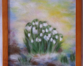 Snowdrops (bigger version) - wool fiber art , wall hanging , wool picture in waldorf tradition
