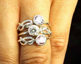 Sterling silver infinity knot  ring and 5 mm cubic zirconia mother's day ring bride maid ring best friend ring