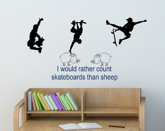 Skateboarder Decal Skater Sticker Quote Wall Words Skateboard Decor Sheep  Decal Boys Room Decal Child Room