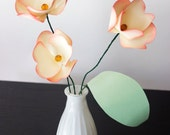 Mini Fuschia Just Kissed Fluttering Hearts Paper Flower Arrangement in a White Vase, Wedding Decorations, Handmade Flowers, Hostess Gift