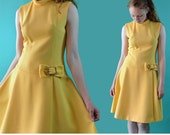 Vintage 60s Mod Dress / Sleeveless Yellow Party Dress / 1960s Twiggy Dress / Vintage Drop Waist Mini Cocktail Dress M / L