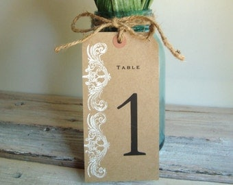 Wedding table numbers . Kraft tag to fit quart size jars stamped in white paint . Kraft tag table numbers . large table number tags