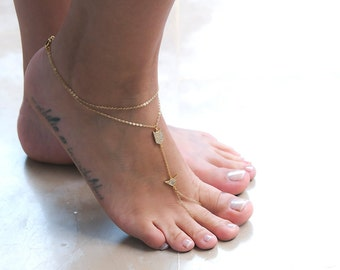 Foot Chain, Barefoot Sandals, Slave Anklet, Body Chain, Body Jewelry with Cubic Zirconia