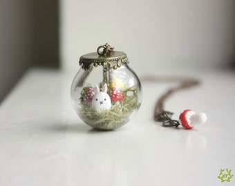 Mushroom Terrarium Necklace - glass globe pendant, miniature rabbit necklace, fairy jewelry, moss terrarium, mori girl, toadstool forest