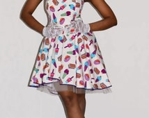2 piece dress Ice cream dress 50s co ord set Ice cream skirt 50s co ord dress 50s style prom dress Pin up dress Hi Low dress Mullet dress