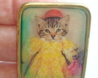 Cat in a Yellow Dress Brooch
