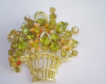 Vintage Clear  Rhinestone Heart Jewelry Brooch