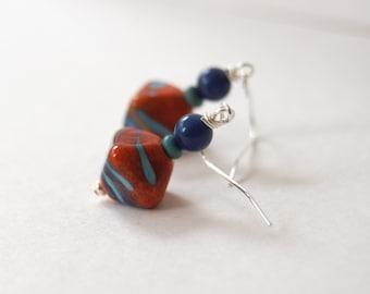Red Earrings, Diamond Earrings, Lampwork Glass Bead Earrings, Abstract Earrings, Beaded Earrings, Colorful Earrings