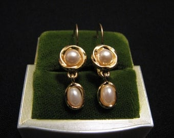 Vintage Gold Plated White Faux Pearl Teardrop Pierced Earrings