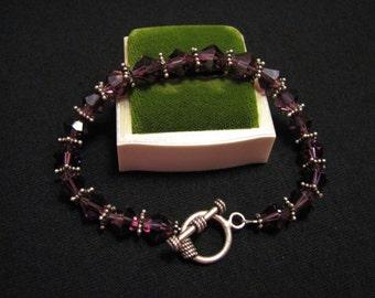 Vintage Sterling Silver Faceted Purple Crystal Glass Beaded Toggle Bracelet