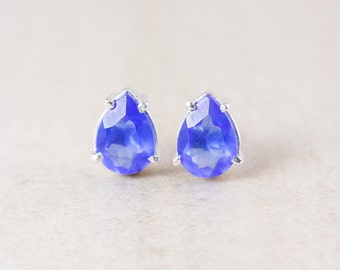 Swiss Blue Quartz Studs - Teardrop - Silver Filled