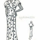 Vintage 1930s Pattern WraparoundMorning Frock Dress or Housecoat Coverall Scallop Collared 1933 Butterick 4924 Bust 36