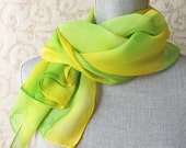 Chiffon Silk Scarf Hand Painted in Lime and Yellow
