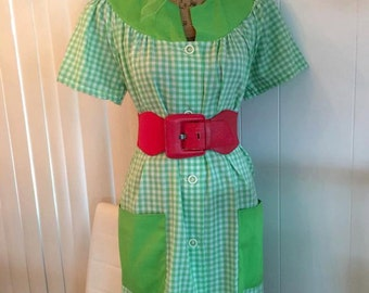 Sale Cutie Pie Vintage 50's Gingham House - Day Dress -- XL -- New without Tags