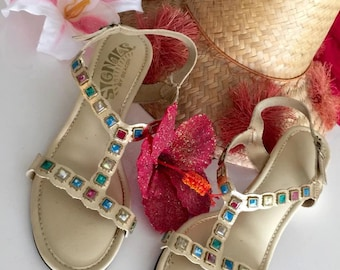 Sale Vintage Deadstock Jeweled Sandals by Beacons Size 7.5 US -- Retro - Egyptian Revival