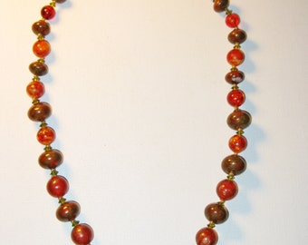 Vintage Hattie Carnegie Long Orange and Green Glass and Lucite Necklace (N-1-2)