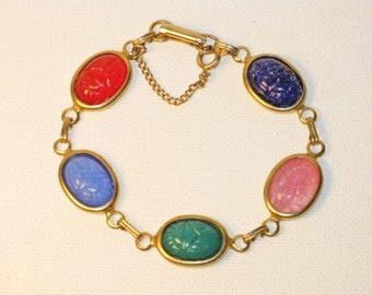 Vintage Glass Scarab Link Bracelet (BR-1-2)