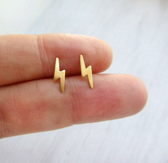 Lightning bolt earrings studs,tiny gold stud earrings,small gold stud earrings,sterling silver post
