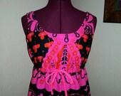 Hawaiian Dress 1960s Hawaiian Dress Hawaiian Maxi Dress Psychedelic Op Art Maxi Dress 60s Hawaiian Maxi Dress Bohemian Boho Barkcloth Size 8