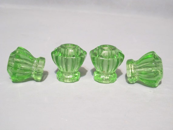 Green Glass Cabinet Knobs And Drawer Pulls: Vintage Pale Green Glass Knobs Set Of 4 / Antique By