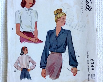 Vintage 1940's Woman's Blouse sewing pattern.   McCall.  Size 12, Bust Size 30.   No. 6349.