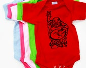 Buddha. Baby Onesie.  Art by MATLEY. Infant Bodysuit. Baby Shower. New born gift registry. Baby tees. Peace sign.