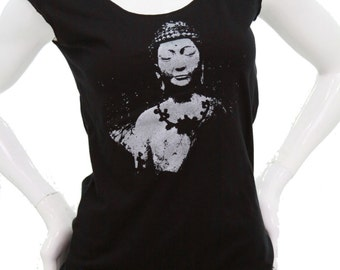 Ready to ship  Buddha  Soft jersey top  Siddhārtha Gautama  American Apparel  Blouse  Gift for her  Yoga apparel  namaste.