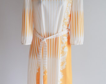 Sale -Hello Sunshine, Early 80's Day Dress with 3/4 Sleeves -Large