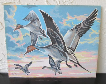 Vintage Paint by Number Ducks in Flight 19XXX Craft House PBN Unframed Painting