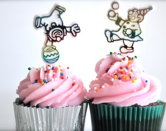 12 Clown Cupcake Toppers Multicolor Iridescent