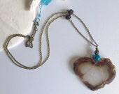 Heart Shaped Agate Slice Pendant Necklace - Large Boho Gypsy Jewelry - Rustic Bohemian