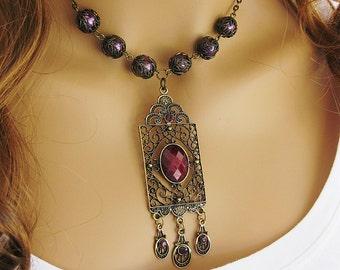 Burgundy Necklace, Victorian Pendant, Edwardian Necklace, Victorian Gold Pendant, Chunky Necklace, Bead Choker, Pendant Necklace, N719