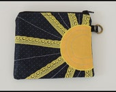 Sun coin purse. Sun and Stars. Astronomy Gift. Handmade from recycled neckties. You are my sunshine! Artist Made in NY