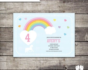 INSTANT DOWNLOAD Rainbow Birthday Party Invitation