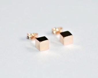 Cube earrings, rose gold studs, sterling silver stud earrings, 5mm cube, geometric studs, simple earrings, classic - Mackenzie