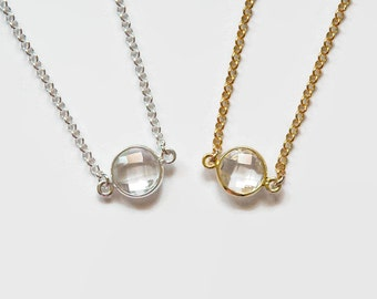Tiny crystal necklace - gift for women - gold or silver round clear crystal quartz necklace - solitaire - simple diamond necklace - Emma