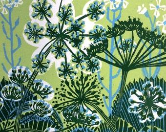 Parsnip Flowers linocut print.
